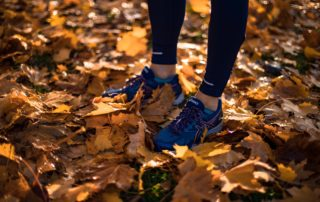 women exercising in their 50's; a picture of a woman wearing running shoes